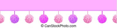 Vector Baby Girl Pink Decorative Pompoms With Ropes Horizontal Seamless