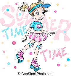 Vector cute blond baby girl in skirt rollerblading