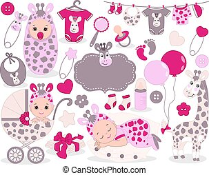 Vector Baby Girl Set with Giraffe Pattern. Vector Baby Girl. Vector Baby Shower.
