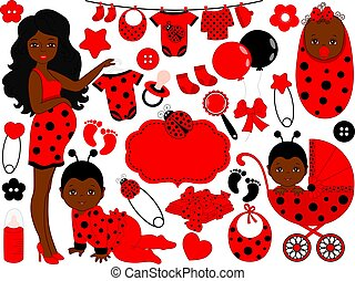 Vector Baby Girl Set with Ladybug Pattern. Vector African American Baby Girl. Vector Pregnancy.