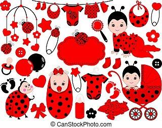 Vector Baby Girl Set with Ladybug Pattern. Vector Baby Girl. Vector Ladybug.
