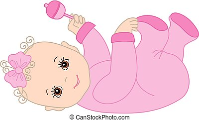Vector Baby Girl with Rattle