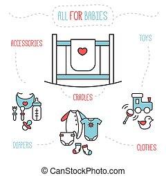 Vector baby goods illustration. Trendy line style newborn design elements.