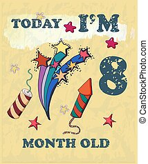 Vector baby milestone card for girl or boy. Today I'm 8 ...