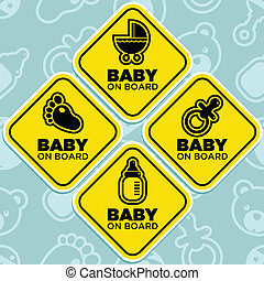 Vector Baby on Board Signs - Vector yellow baby on board...