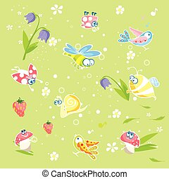 Vector baby pastel texture with funny animals