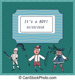 Vector baby shower greeting card. Text It's a Baby boy. Little musketeer, knight.