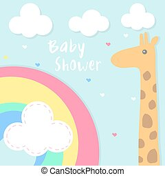 vector baby shower invitation card with rainbow and giraffe