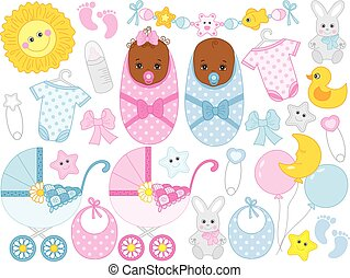Vector Baby Shower Set with Cute Baby Boy, Baby Girl, Accessories and Toys