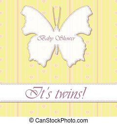 baby shower twins vintage with butterfly banner