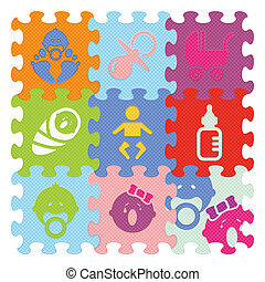Vector baby signs made with puzzle