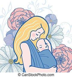 vector, babywearing, ilustración, con, madre, abrazar, bebé, en, un, honda