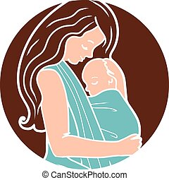 Vector Babywearing Round Logo With Mother Hugging Baby In a...