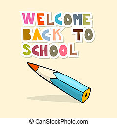 Vector Back to School Background with Pencil
