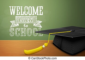 Vector Back to school banner with graduation cap