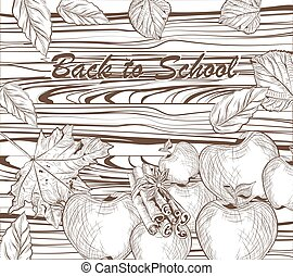 Vector Back to school linear illustration of  scholar theme