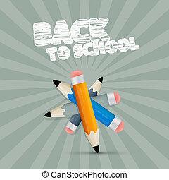 Vector Back to School Retro Illustration with Pencils