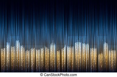 Abstract night city illustration with lines.