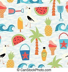 Vector background Beach icons flat seamless pattern