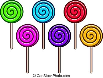 vector background collection of colorful lollipop candies