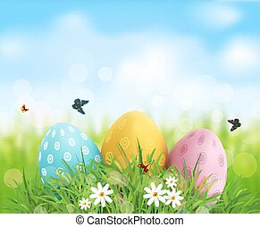 Vector background. Easter eggs in green grass with white flowers, butterflies on blue, blurred , natural background