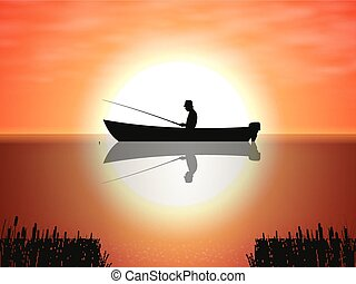 Vector background fisherman on boat sunset
