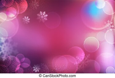 Vector background for Christmas and New Year. Bright, festive pink background with blur and snowflakes