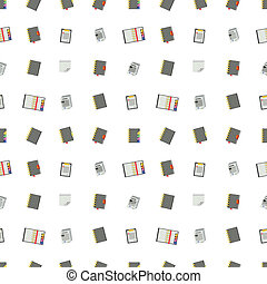 Seamless vector pattern with gray notebooks, stickers, clipboards on white background.