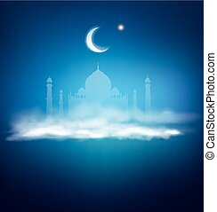 vector background for Ramadan holiday with clouds, mosque, crescent