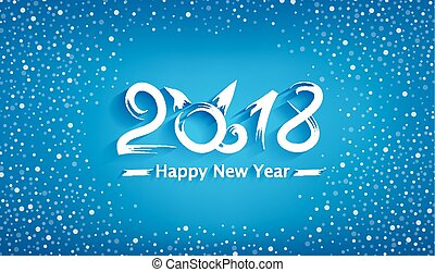 Vector background for the New Year (year of the dog) Creative text 2018 on a blue background with white snow