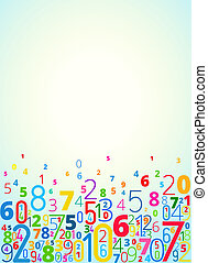 Vector background from numbers - Vector rainbow colored...