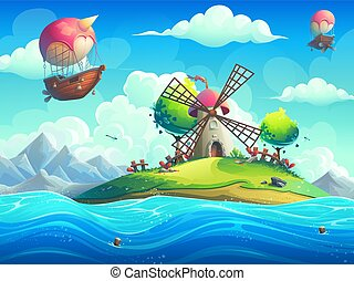 Vector background illustration of a mill on an island in the ocean