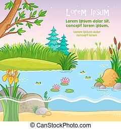 Vector background illustration with nature.
