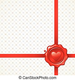 Vector background illustration with Valentines sealing wax stamp
