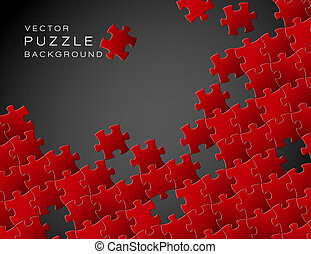 Vector background made from red puzzle pieces