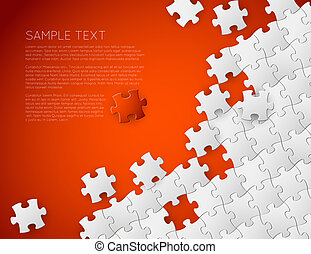 Vector background made from white puzzle pieces