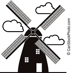 vector background of black and white windmill and clouds