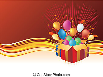 gift box and balloon, vector celebration background