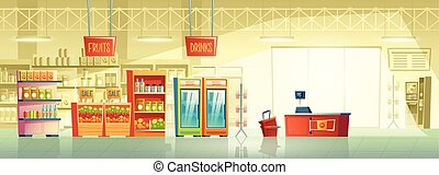 Vector background of empty supermarket, shop, store