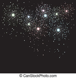 vector background of fireworks and sparkles