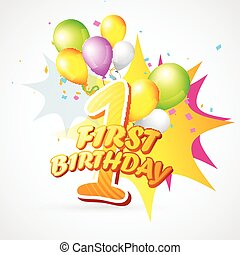 background of first birthday - vector background of first...