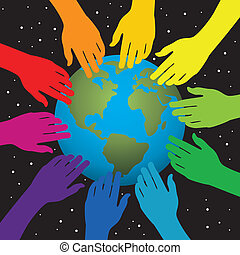 hands touching earth - vector background of hands touching ...