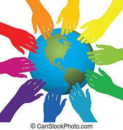 hands touching earth - vector background of hands touching...
