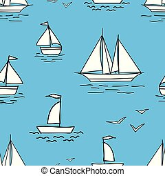 Vector background of sailboats in the sea