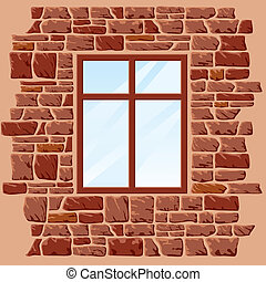 vector background of stone wall with window