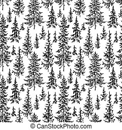 vector background of the fir forest sketches