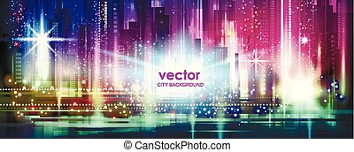 vector background of the night city with glowing lights