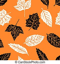 Vector background of the silhouettes of trees leaves