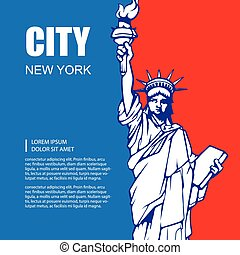 statue of liberty - vector background picture with statue of...