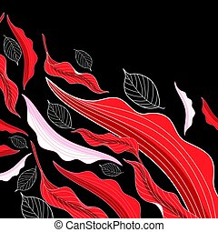 Vector background red flight autumn leaves